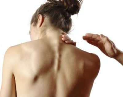 Person with neck pain