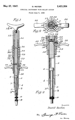 A mechanical drawing presented in David Reiter's patent application in 1947.
